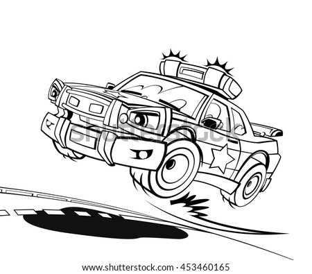 Cartoon scene with speeding car - police car - isolated - illustration for children