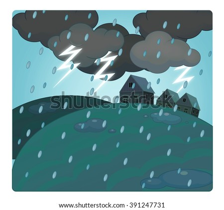 Cartoon scene with weather - storm over the village - thunders - illustration for children - stock photo