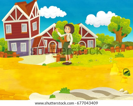 Cartoon scenery of some woman in the backyard - summer - for different usage