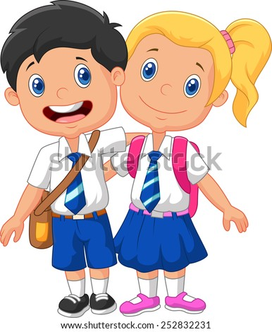 Cartoon school children  - stock photo