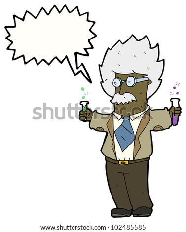 cartoon scientist - stock photo