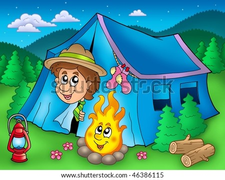 Cartoon scout boy in tent - color illustration. - stock photo