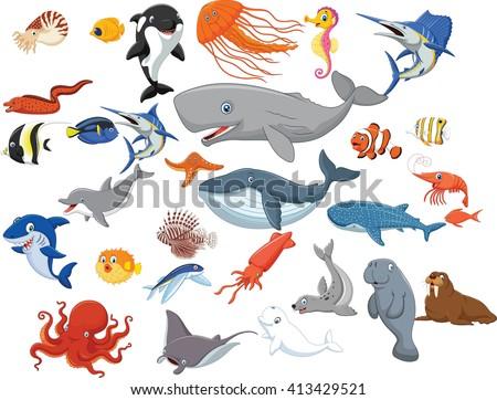 Cartoon sea animals isolated on white background - stock photo