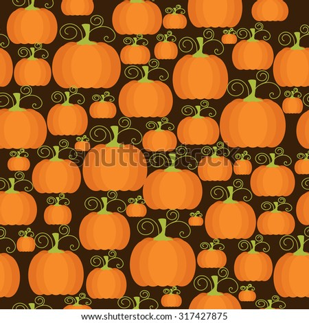 Cartoon seamless pattern with orange pumpkin. Halloween and Thanksgiving background. Halloween pumpkins seamless pattern. - stock photo