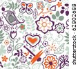 Cartoon seamless texture with flowers, butterflies and leaf - stock vector