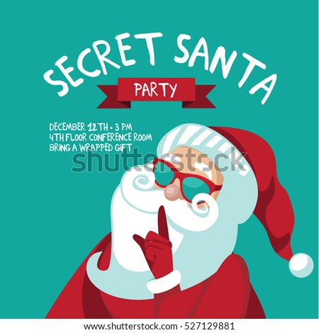 Cartoon secret santa christmas party background stock for Secret santa email template