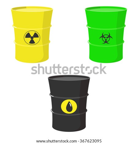 Cartoon set of barrels with oil, toxic and nuclear waste isolated on white background - stock photo