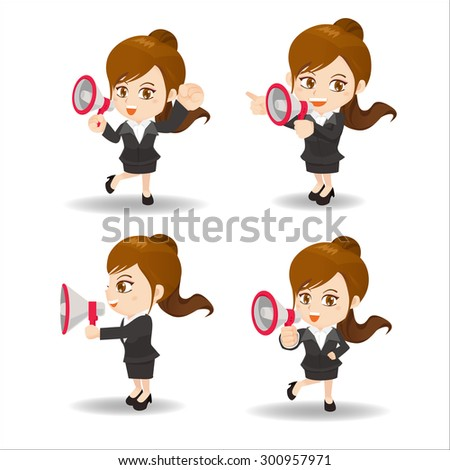 Cartoon set of Business woman shout trumpet and bullhorn - stock photo