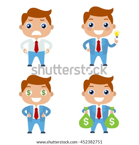 Cartoon set of cute businessman or managers character in different poses with money. Flat illustration. Empty pockets. Idea. Bags with money. The path to success and wealth.