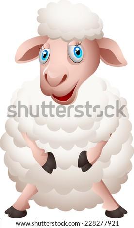 Cartoon sheep - stock photo