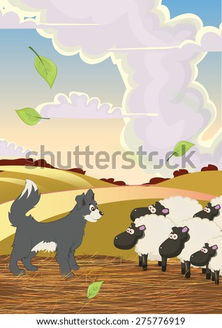 Cartoon sheep dog and sheep, this is a cartoon farm yard with a friendly sheep dog and some bemused funny sheep, it is a funny warm day with a light breeze. - stock photo