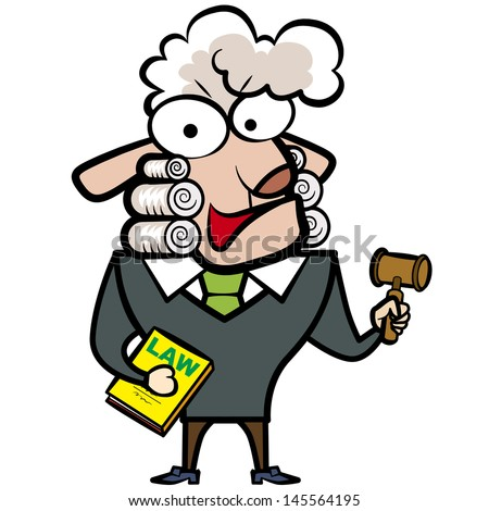 cartoon sheep judge with a gavel and law book.