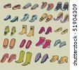Cartoon shoes. set - stock vector