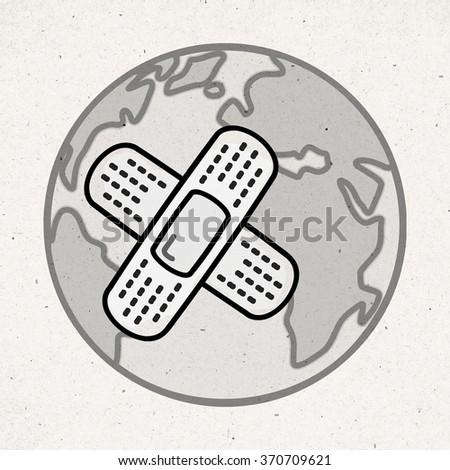 cartoon sick Earth with bandage - stock photo