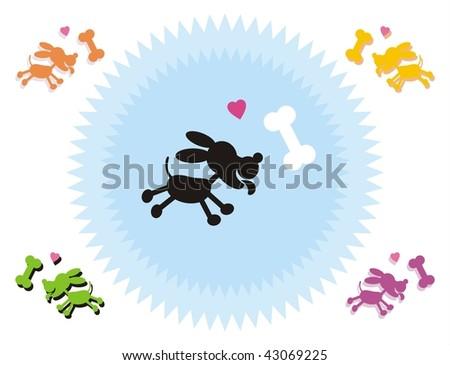 Cartoon silhouette of a little pet dog  running toward a bone. Large format full resolution. - stock photo