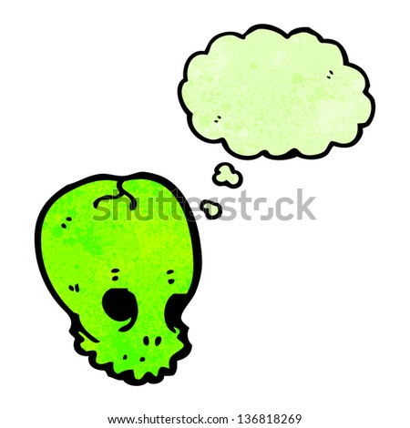 cartoon skull symbol with thought bubble