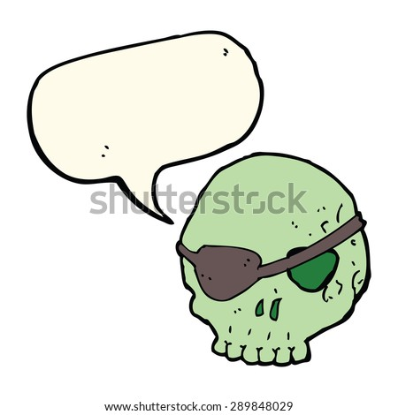 cartoon skull with eye patch with speech bubble - stock photo