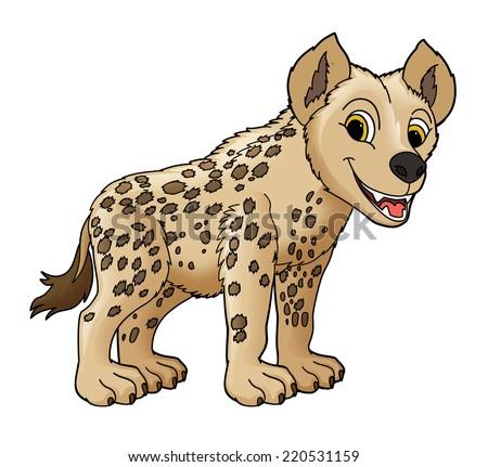 Cartoon small animal - hyena - illustration for the children - stock photo