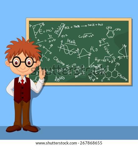 Cartoon smart boy - stock photo