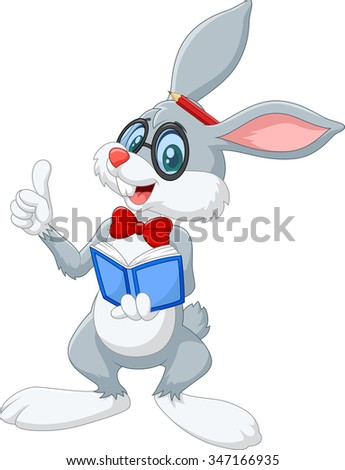 Cartoon smart rabbit thinking isolated on white background