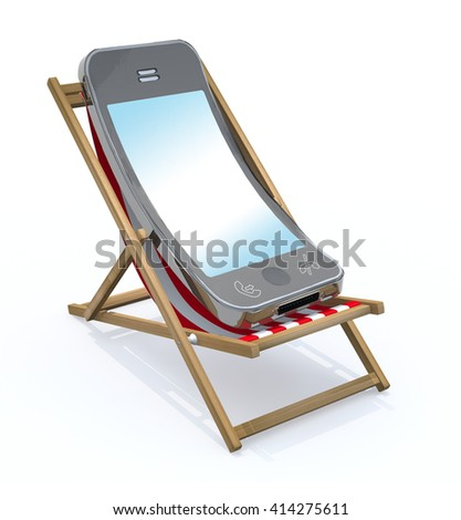 cartoon smartphone that rest in beach chair, 3d illustration - stock photo