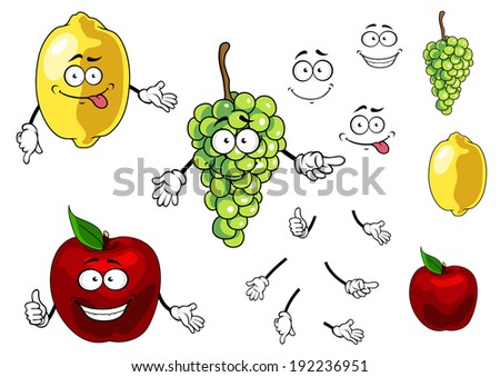 Cartoon smiling apple, grape and lemon fruits isolated on white background. Vector version also available in gallery - stock photo