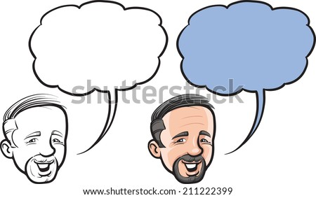 cartoon smiling balding man face - stock photo