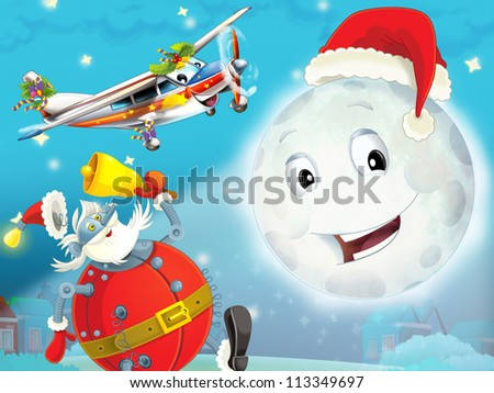 Cartoon smiling moon by the night with the stars - christmas friends and robots - illustration for the children