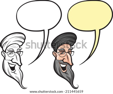 cartoon smiling old man from middle east face - stock photo