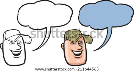 cartoon smiling soldier face - stock photo