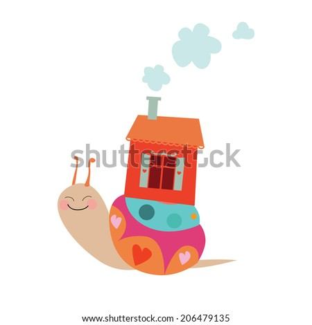 Cartoon snail vector illustration   Raster version