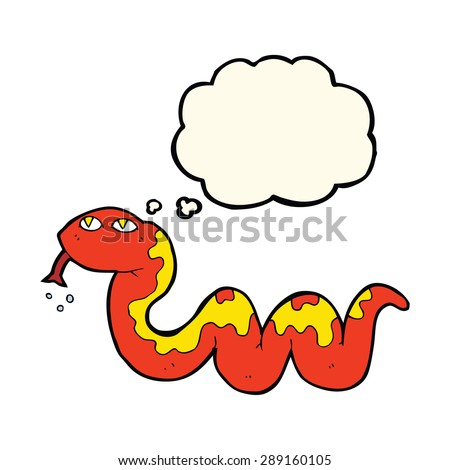 cartoon snake with thought bubble - stock photo