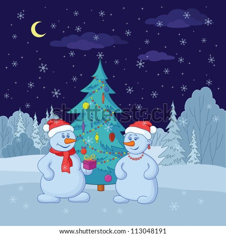 Cartoon, snowmans with holiday gifts under the Christmas tree in winter forest