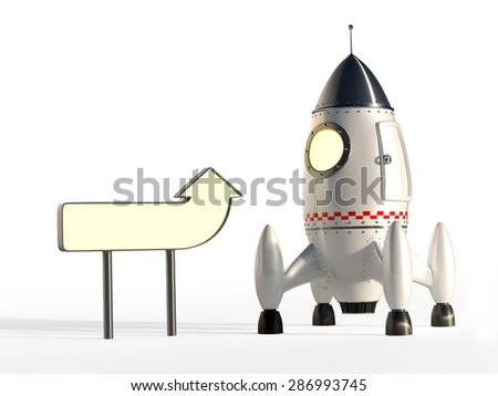 Cartoon Space Rocket Ready for Launch With Signpost - Copyspace