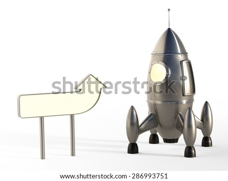 Cartoon Space Rocket Ready for Launch With Signpost - Copyspace - stock photo