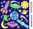 Cartoon space stickers.Raster version - stock photo