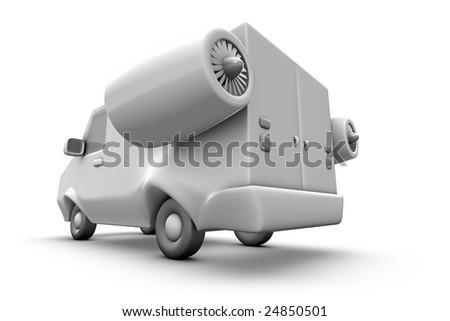 cartoon speed van - stock photo