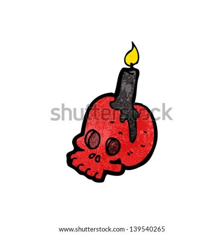 cartoon spooky skull - stock photo