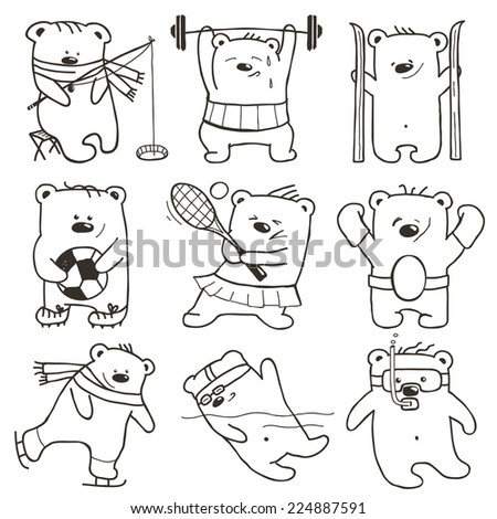 Cartoon Sport Bears Outlines Collection. Nine athletic simple bears set. Raster variant. - stock photo