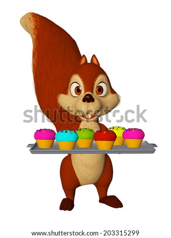 cartoon squirrel with cupcakes, children party - stock photo