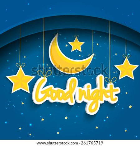 Cartoon star and moon wishing good nigh. Illustration background.