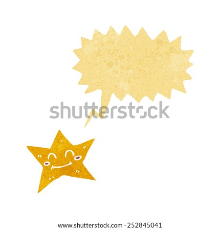 cartoon star character with speech bubble - stock photo