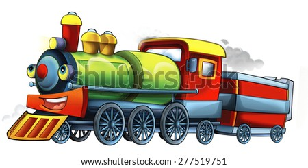 Cartoon steam train - caricature - illustration for the children - stock photo