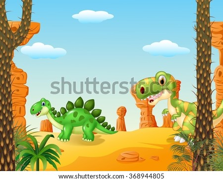 Cartoon stegosaurus with tyrannosaurus with Prehistoric background