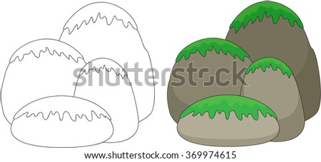 Cartoon stones covered with grass and moss. Coloring book for kids. illustration - stock photo