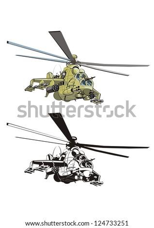 cartoon strike helicopter. Vector version see in my portfolio - stock photo