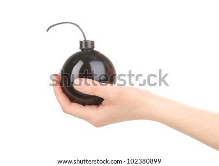 Cartoon style bomb in hand isolated on white - stock photo