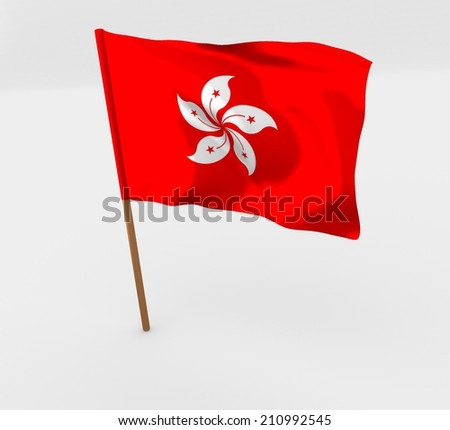 cartoon style flag of hong kong - stock photo