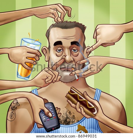 Cartoon-style illustration. A scruffy fat tattooed man surrounded by seven hands, scratching him or holding some objects: a glass of beer, a remote control, a hot dog and a cigarette - stock photo