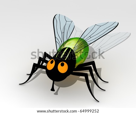 Cartoon style illustration of a fly - stock photo